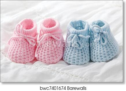 fc1df9a30779c Blue and pink baby booties, Art Print | Barewalls Posters & Prints ...