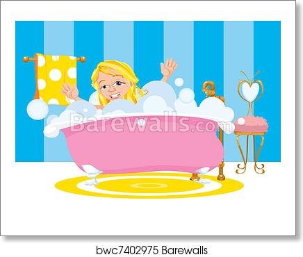 Girl Happy Taking A Bubble Bath Art Print Barewalls Posters Prints Bwc7402975