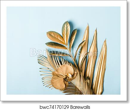 Tropical Palm Leaves And Flowers In Golden Colors On Pastel Background Natural Creative Layout Art Print Barewalls Posters Prints Bwc74170129 Calendar, frames and photo frames, invitation png and psd formats | download. tropical palm leaves and flowers in golden colors on pastel background natural creative layout art print poster