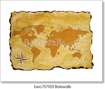 Art print of old world map barewalls posters prints bwc757920 art print of old world map gumiabroncs Image collections