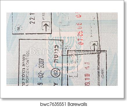 Art Print Of Stamps In An Israeli Passport