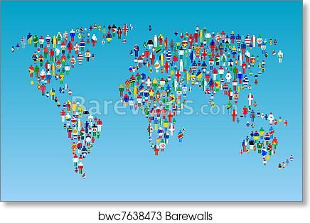 Art print of globalisation world map with people made from flags art print of globalisation world map with people made from flags barewalls posters prints bwc7638473 gumiabroncs Gallery
