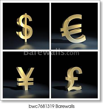 Art Print Of Different Currency Symbols Over Bla Barewalls Posters
