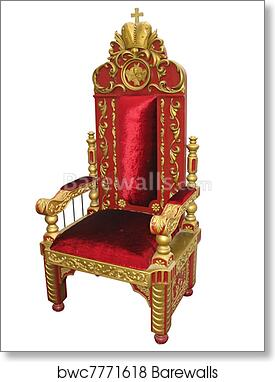 Art Print Of Royal King Red And Golden Throne Chair Isolated