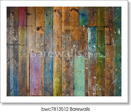 Colorful Old Wooden Floor Or Wall Art Print Poster