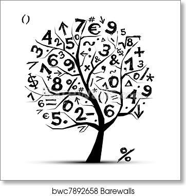 Art Print Of Art Tree With Math Symbols For Your Design Barewalls
