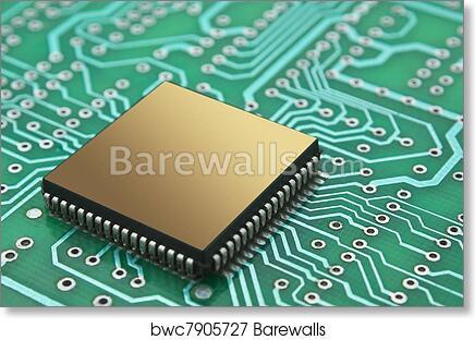Art Print of microchips on a printed circuit board | Barewalls ...