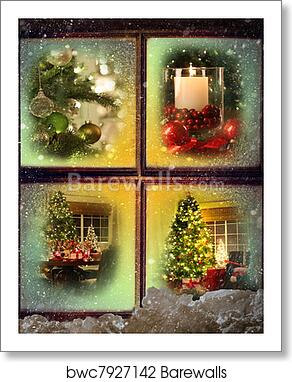 Christmas Scenes Images.Vignettes Of Christmas Scenes Seen Through A Wooden Window Art Print Poster