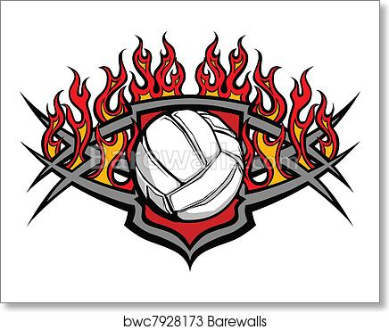 Volleyball Ball Template with Flame art print poster