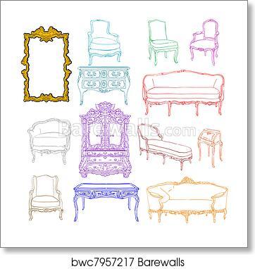Rococo Furniture Doodles Art Print Barewalls Posters Prints