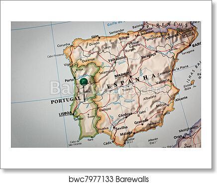 Iberian peninsula Map art print poster