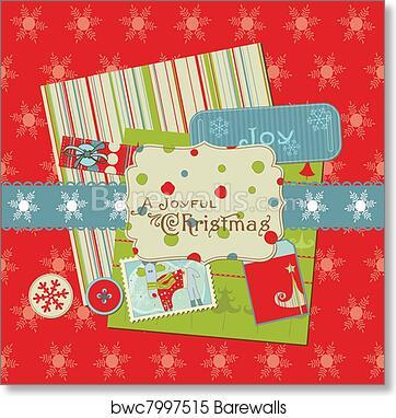 Christmas Design Elements For Scrapbook Design Invitation Greetings Art Print Poster
