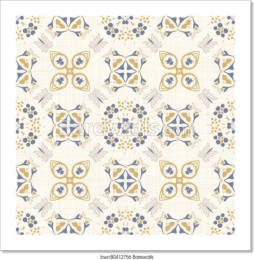 Seamless Daisy Pattern In French Blue Linen Shabby Chic Style Hand Drawn Floral Damask Texture Old White Blue Background Interior Wallpaper Home Decor Swatch Ornate Mosaic Motif All Over Print Art Print