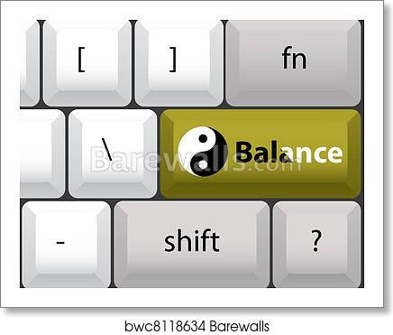 Art Print Of Keyboard Layout With Yin Yan Balance Button