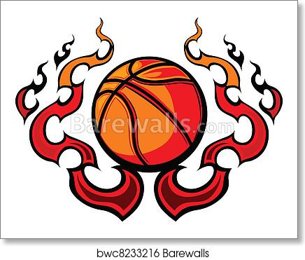 Art Print Of Basketball Template With Flames Vec Barewalls Posters
