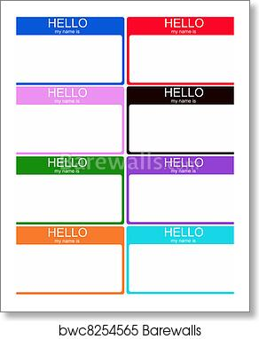 Set Of 8 Colorful Name Tags Art Print