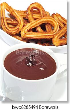 art print of churros con chocolate a typical spanish sweet snack