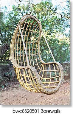 Dawn Sunrays Wicker Bamboo Swing Chair Art Print