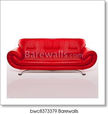 Modern Red Leather Couch art print poster