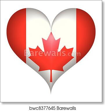 Canadian Flag Heartvector Art Print Poster