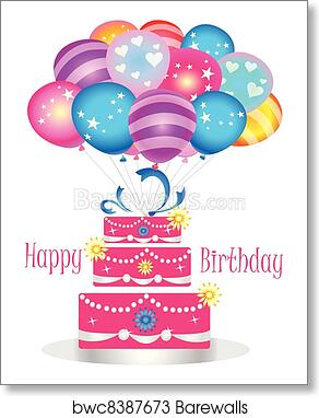 Happy Birthday Cake With Balloons Art Print
