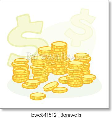 Art Print Of Hand Drawn Coin Stacks And Money Symbols Barewalls