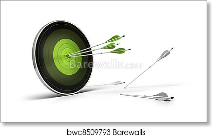 Green target onto a white background with three arrows reaching their goal,  and whites arrows on the floor failed to reach their objective  art print