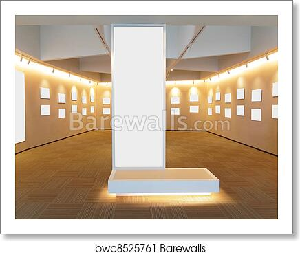 Art Print Of Empty Picture Frames In The Art Gallery Room