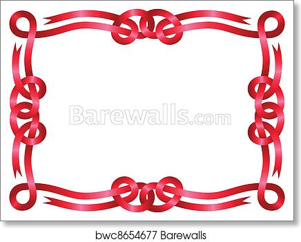 Art Print of Red ribbon frame isolated on white | Barewalls Posters ...