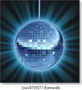 Disco Glitter Ball Lights Celebration Poster Wall Art Print Card or Canvas