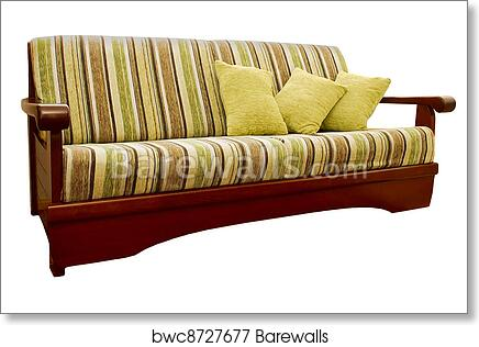 Prime Striped Green And Brown Sofa With Fabric Upholstery Isolated On White Background 9 Art Print Poster Dailytribune Chair Design For Home Dailytribuneorg
