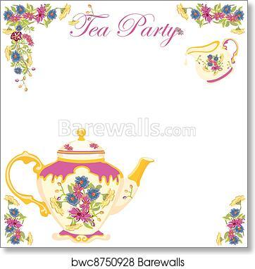 Victorian Tea Pot Party Invitation Art Print Poster