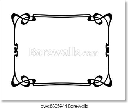 Art Print of Art nouveau ornamental decorative frame | Barewalls ...