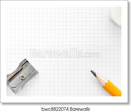 art print of blank squared graph paper eraser and sharpener