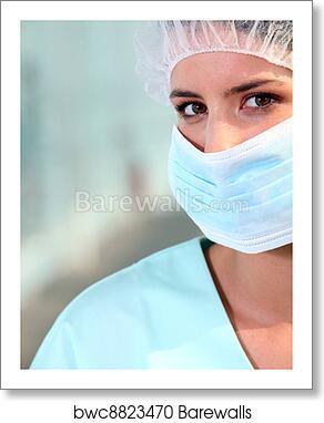 Art Wearing Poster Print Mask Surgical Nurse