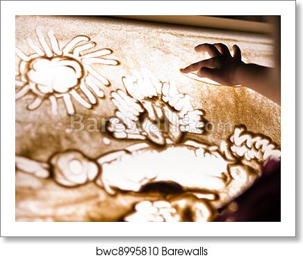 Art Print Of Child Paint With Sand On Table