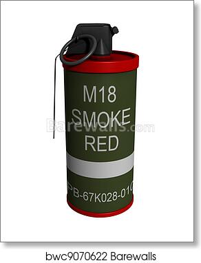 3D Rendered Isolated M18 Smoke Grenade art print poster