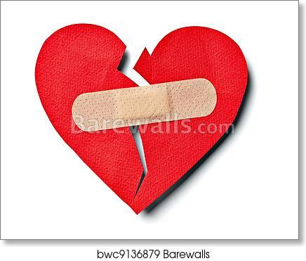 Broken heart love relationship and plaster bandage art print poster