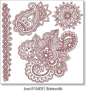 Henna Mehndi Tattoo Doodles Vector Art Print Barewalls Posters