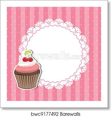 art print of cherry cupcake invitation card barewalls posters