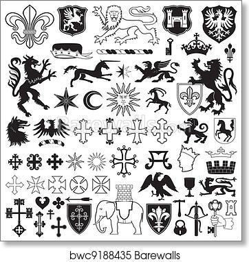Heraldic Symbols And Crosses Art Print Poster