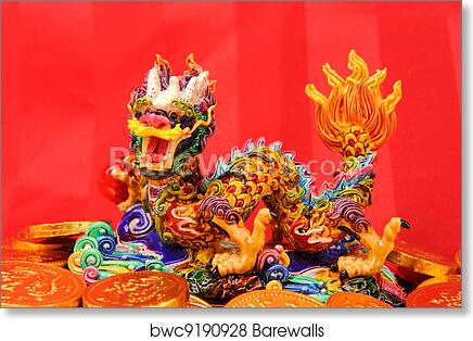 Chinese New Year Ornaments--Traditional Dancing Dragon, golden coin and  Money Red Packet, red firecracker art print poster
