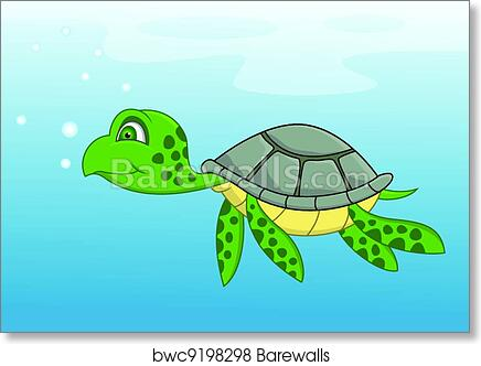 "Poster 19/"" x 13/"" Swim Turtle"