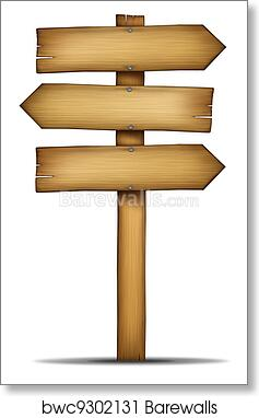 Art Print Of Wooden Directions Arrow Signs