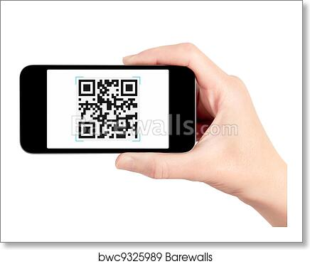 Hand Holding Mobile Phone With QR Code Scanner art print poster