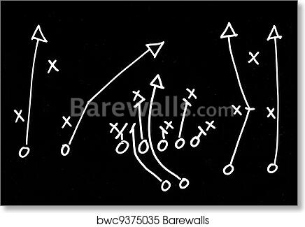Art Print Of Football Play Hand Drawn On A Chalkboard Barewalls