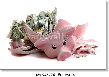 Broken piggybank with dollar notes, Art Print   Barewalls Posters ...