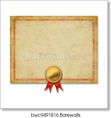 art print of blank certificate with gold crest ribbon barewalls