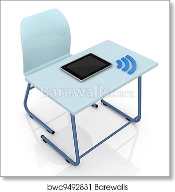 Art Print Of School Desk With Tablet