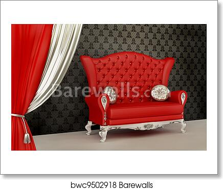Opened Curtain And Modern Sofa With Pillow In Interior With Ornament Wallpaper Art Print Poster